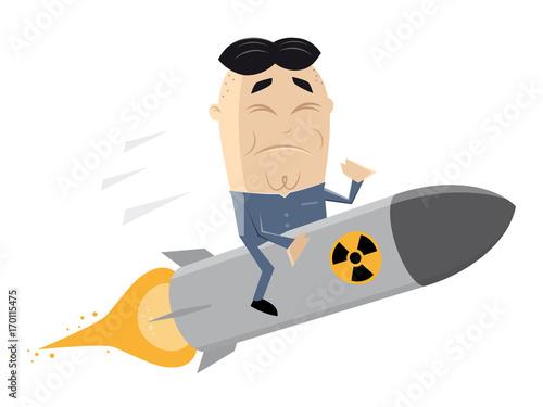 asian leader riding an atomic bomb