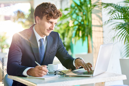 Portrait of handsome young businessman working at desk using laptop and smiling in sunlight