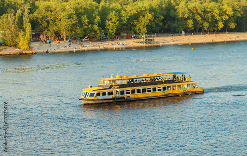Fotobehang Kiev Vessel on the Dnieper River