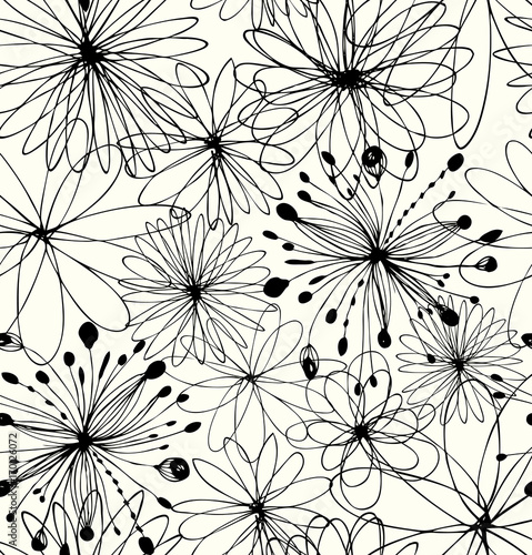 Black drawn background with round fantasy shapes, flowers. Vector abstract pattern, decorative linear texture © silmen