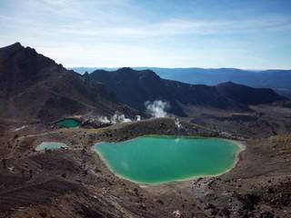 Tongariro volcanic emerald lakes view New Zealand