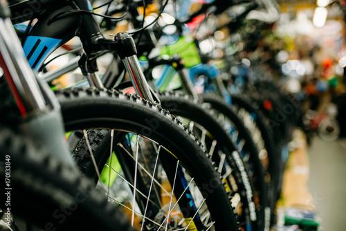 Sklep rowerowy, rzędy nowych rowerów, sklep sportowy