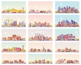Fototapety Vector low poly landscapes set
