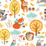 Autumn seamless pattern with cute woodland animals, trees, rainy clouds, mushrooms and leaves. - 170135273