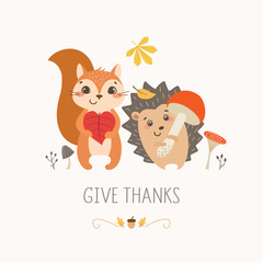 Thanksgiving design with cute happy squirrel and hedgehog.