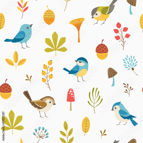 Autumn floral seamless pattern with little birds, leaves, berries, mushrooms and acorns.