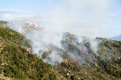 incendio sulle montagne sotto il paese di Bellegra nel lazio