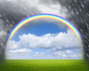 Regenbogen bei Regenwetter