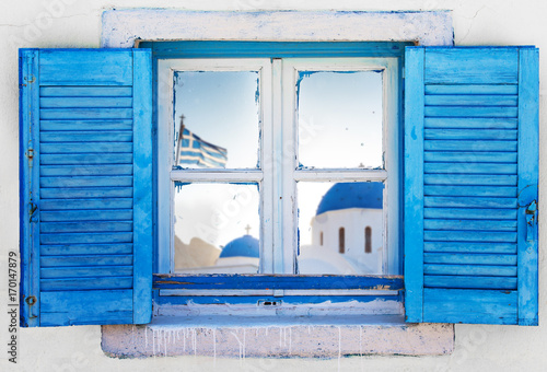 Poster Beautiful vintage Greek window with blue shutters. Typical Greek picture.