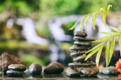 Foto op Canvas Zen Zen stones stack on abstract background