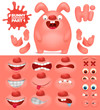 Creation kit of pink emoticon bunny character