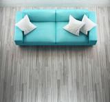 Diavano azzurro in pelle in stanza moderna - 170152678