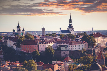 Tallinn, the capital of Estonia, is a beautiful city sunset landscape. View of the old town