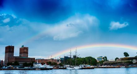 Rainbow over Oslo, Norway