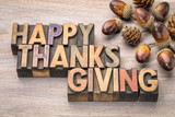 Happy Thanksgiving in wood type