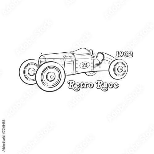 Fotobehang F1 Retro race drawing