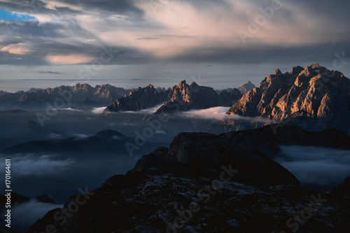 Leinwandbild Motiv Colors of sunrise in Dolomites