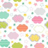 seamless pattern with clouds and star - vector illustration, eps