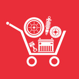 Auto parts in the supermarket trolley