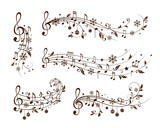 Christmas musical decoration elements. Winter holiday dividers. - 170168814
