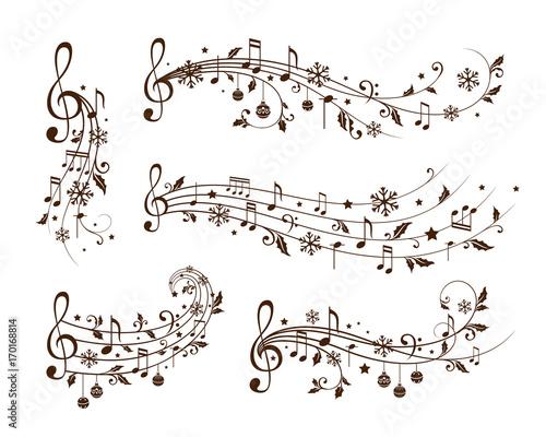 Fotobehang Muziek Christmas musical decoration elements. Winter holiday dividers.