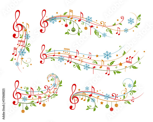 Plexiglas Muziek Christmas musical decoration elements. Winter holiday dividers.