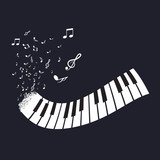 Flat Abstract Piano Keyboard with Notes on Black Background. Music Instrument Vector. - 170169267