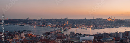 Panoramic view of Bosphorus from Galata Tower  in Istanbul, Turkey Poster