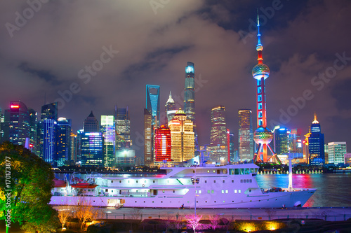 Papiers peints Shanghai Shanghai skyline at night, China