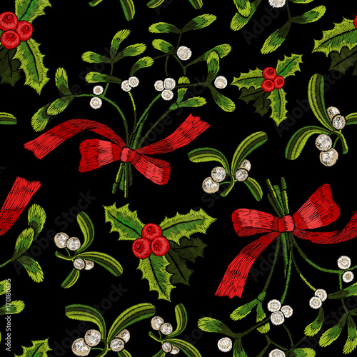 Cotton fabric Embroidery christmas seamless pattern with mistletoe.
