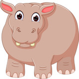 funny hippo cartoon with smile