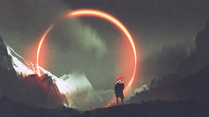 man standing in front of red light circle, digital art style, illustration painting © grandfailure