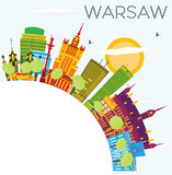 Warsaw Skyline with Color Buildings, Blue Sky and Copy Space.