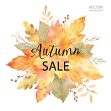 Watercolor vector banner autumn sales isolated on white background. - 170216661