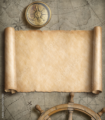 Old map scroll with compass and steering wheel. Adventure and travel concept. 3d illustration.