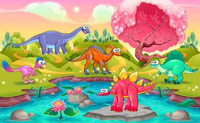 Group of funny dinosaurs in a natural landscape
