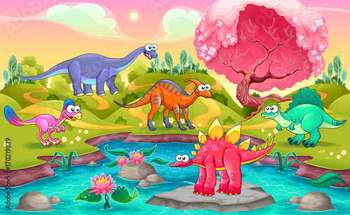 Deurstickers Kinderkamer Group of funny dinosaurs in a natural landscape