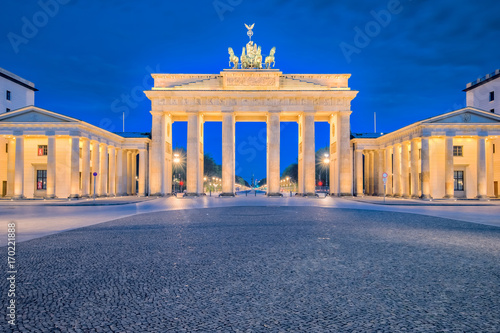 Brandenburg gate or Brandenburger Tor in Berlin, Germany at night Poster