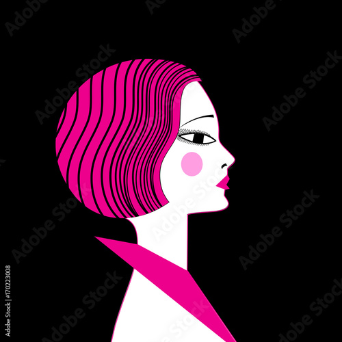 Vector illustration portrait of a beautiful girl - 170223008