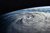 Typhoon over planet Earth - satellite photo. Elements of this image furnished by NASA
