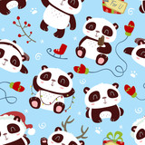 vector cartoon style winter christmas new year panda blue seamless pattern
