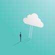 Business success vector concept with businessman standing in front of ladder leading up to the cloud. Symbol of career opportunity, corporate ladder and growth.