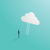 Business success vector concept with businessman standing in front of ladder leading up to the cloud. Symbol of career opportunity, corporate ladder and growth. - 170233664