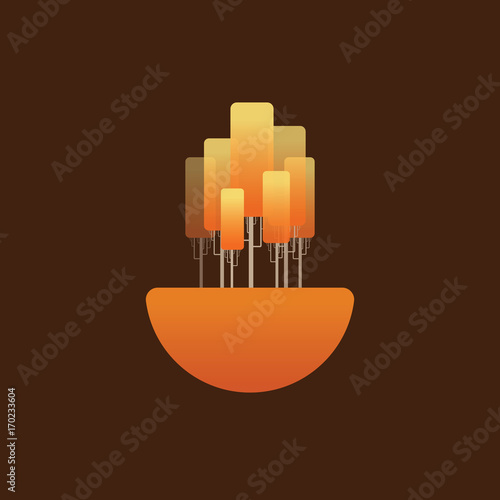 Papiers peints Marron chocolat Autumn landscape vector concept symbol with orange leaves on birch trees. Relaxation, calm scenery.