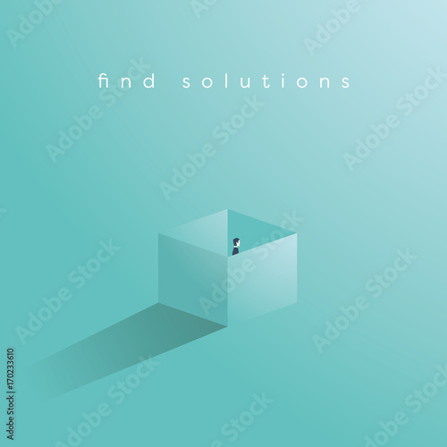 Find solution business vector concept with businessman standing in a box. Think outside the box symbol.