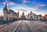 Fototapety Ghent, Belgium at day, Gent old town