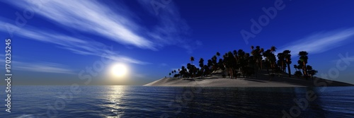 Island in the ocean at sunset, the sun over the island, panorama of the sea landscape