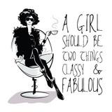 Moda cytat z kobieta moda w styl szkic.
