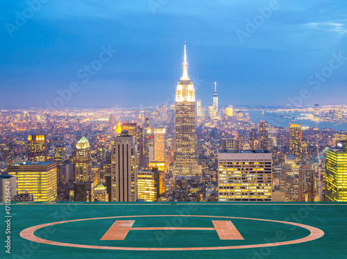 New York City skyline dusk. Poster