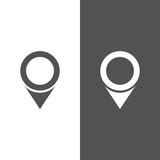 Isolated location icon for maps on a black and white background - 170237236